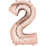 "SuperShape ""2 - Rose  Gold"" Foil Balloon, P50, packed, 50 x 88cm"