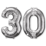 Mid Size Number Bunch 30 Silver Foil Balloon P56 Packaged