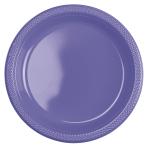 10 Plates New Purple Plastic Round 22.8 cm