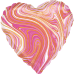 Standard Marblez Pink Heart Foil Balloon S18 Packaged