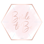 8 Plates Hen Party Hexagon Shape Paper Metallic 22.8 cm
