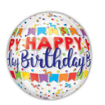 """Clear Orbz """"Happy Birthday Banner Bash"""" Foil Balloon Clear, G20, packed, 38 x 40cm"""
