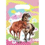6 Party Bags Charming Horses 2 Plastic 23.4 x 16.2 cm