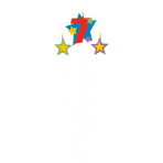 Numeral Candle 7 with 2 Star Candles Height 12.2/13.5 cm