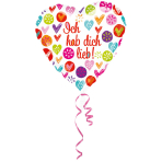 Standard Ich hab dich lieb Foil Balloon Round S40 Packaged 43 cm