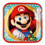 8 Plates Super Mario Paper Squared 22.8 x 22.8 cm