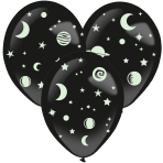 3 Latex Balloons Assorted 35.5 cm with Glow-in-the-Dark Stickers Paper