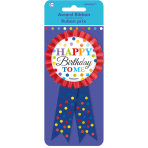 Award Ribbon Bright Birthday Fabric / Metal 7.9 x 14.6 cm
