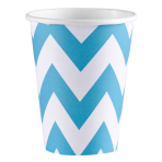 8 Cups Caribbean Blue Chevron Paper 266 ml