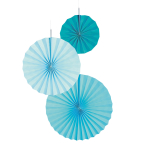 3 Fan Decorations Aqua Glamor Paper 18 cm / 30 cm / 38 cm