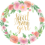 8 Plates Floral Baby Paper Round 26.7cm