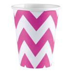 8 Cups Bright Pink Chevron Paper 266 ml