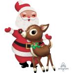 """AirWalkers """"Santa & Reindeer"""" Foil Balloon P93 packed 78 x 121cm"""