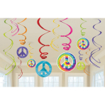 12 Swirl Decorations Feeling Groovy 60's 61 cm