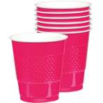 10 Cups Bright Pink Plastic 355 ml