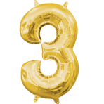 MiniShape Number 3 Gold Foil Balloon L16 Packaged 20cm x 33c