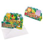 8 Invitations & Envelopes Jungle Animals Paper 8.4 x 13.4 cm