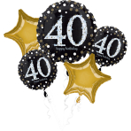 "Bouquet ""Sparkling Birthday 40"" 5 Foil Balloons, P75, packed"