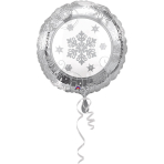 """Standard""""Sparkling Snowflake"""" foil Balloon round, S40, packed, 43 cm"""