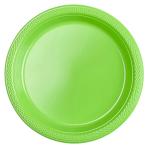 20 Plates Kiwi Green Plastic Round 17.7 cm