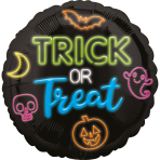 Standard Neon Trick or Treat Foil Balloon S40 Packaged