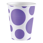 8 Cups New Purple Dots Paper 250 ml