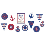 12 Paper Cutouts Anchors  Aweight 17,7/ 22,8 / 27,9 cm