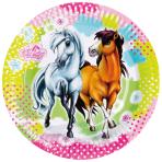 8 Plates Charming Horses 2 Paper Round 22.8 cm