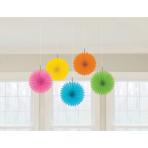 5 Fan Decorations Multicolour Paper 15.2 cm