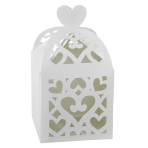 50 Favour Boxes Colourful Wedding White 6.3 x 6.3 x 6.3 cm