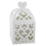 50 Favour Boxes Colourful Wedding White 6.3 x 6.3 x 6.3 cm