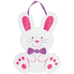 Sign Bunny with Ribbon Hanger MDF Glitter 22 x 29 cm