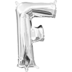 MiniShape Letter F Silver Foil Balloon L16 Packaged 20cm x 33cm