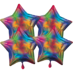 Multi-Pack Iridescent 4 Pack Star Rainbow Foil Balloon P41 packaged