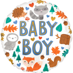 Standard Baby Boy Woodland Fun Foil Balloon S40 Packaged