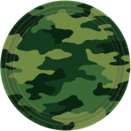 8 Plates Camouflage Paper Round 22.8 cm