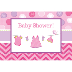 8 Invitations & Envelopes Shower With Love - Girl 15.8 x 10.8 cm