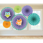 6 Paper Fan Decorations Woodland Welcome 21 cm/30 cm/40 cm