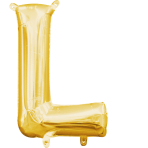 MiniShape Letter L Gold Foil Balloon L16 Packaged 20cm x 33c