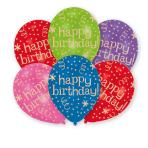 "6 Latex Balloons Happy Birthday - Global 27.5 cm / 11"""