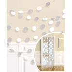 6 String Decorations Glitter Frosty White Foil 213 cm