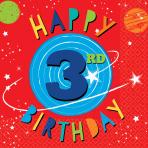 16 Napkins Blast Off Birthday 3rd Birthday 33 x 33 cm