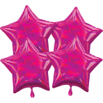 Multi-Pack Iridescent 4 Pack Star Magenta Foil Balloon P41 packaged