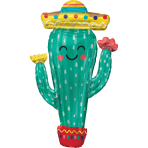 Supershape Fiesta Cactus Foil Balloon P35 packaged
