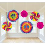6 Printed Paper Fans Feeling Groovy 60's