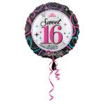 Standard Sweet 16 Sparkle FoilBalloon S40 Packaged 43 cm
