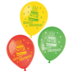 6 Latex Balloons Happy Birthday 22.8 cm/9''