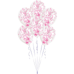 6 Latex Balloons Clear Confetti Filled Pink (2g, 1cm) 27.5 cm / 11""