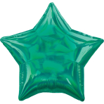 Standard Holographic Iridescent Green Star Foil Balloon S55 Packaged