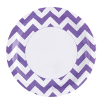 8 Plates New Purple Chevron Paper Round 22.8 cm